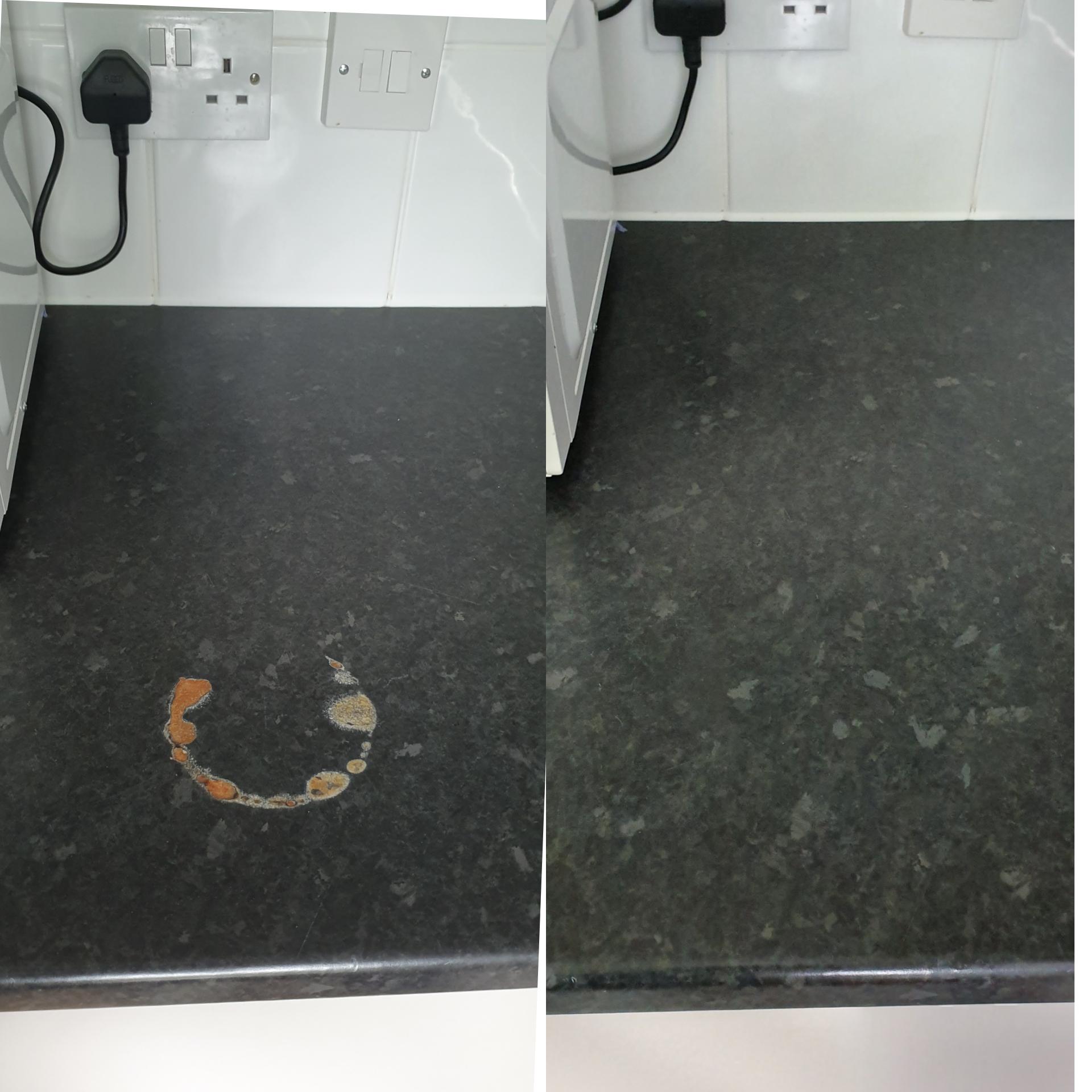 Laminate worktop burn repair before and after