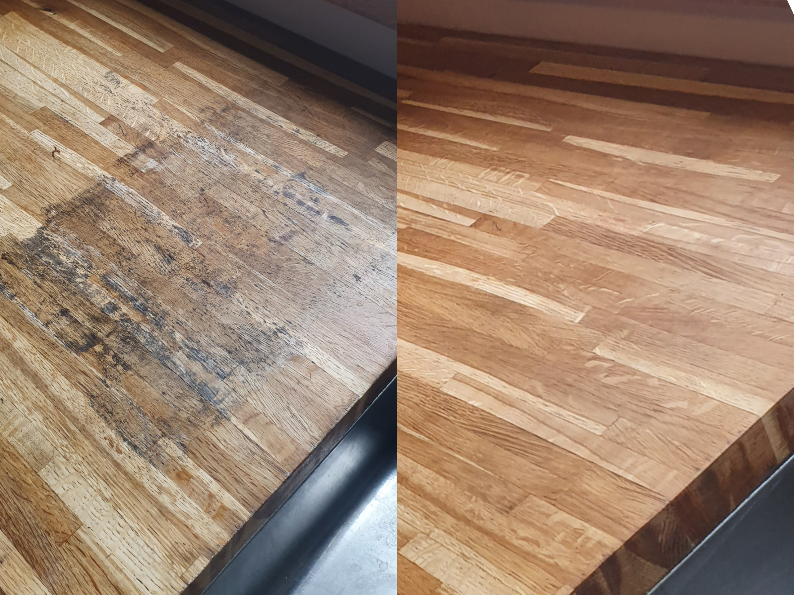 Oak worktop repair before and after