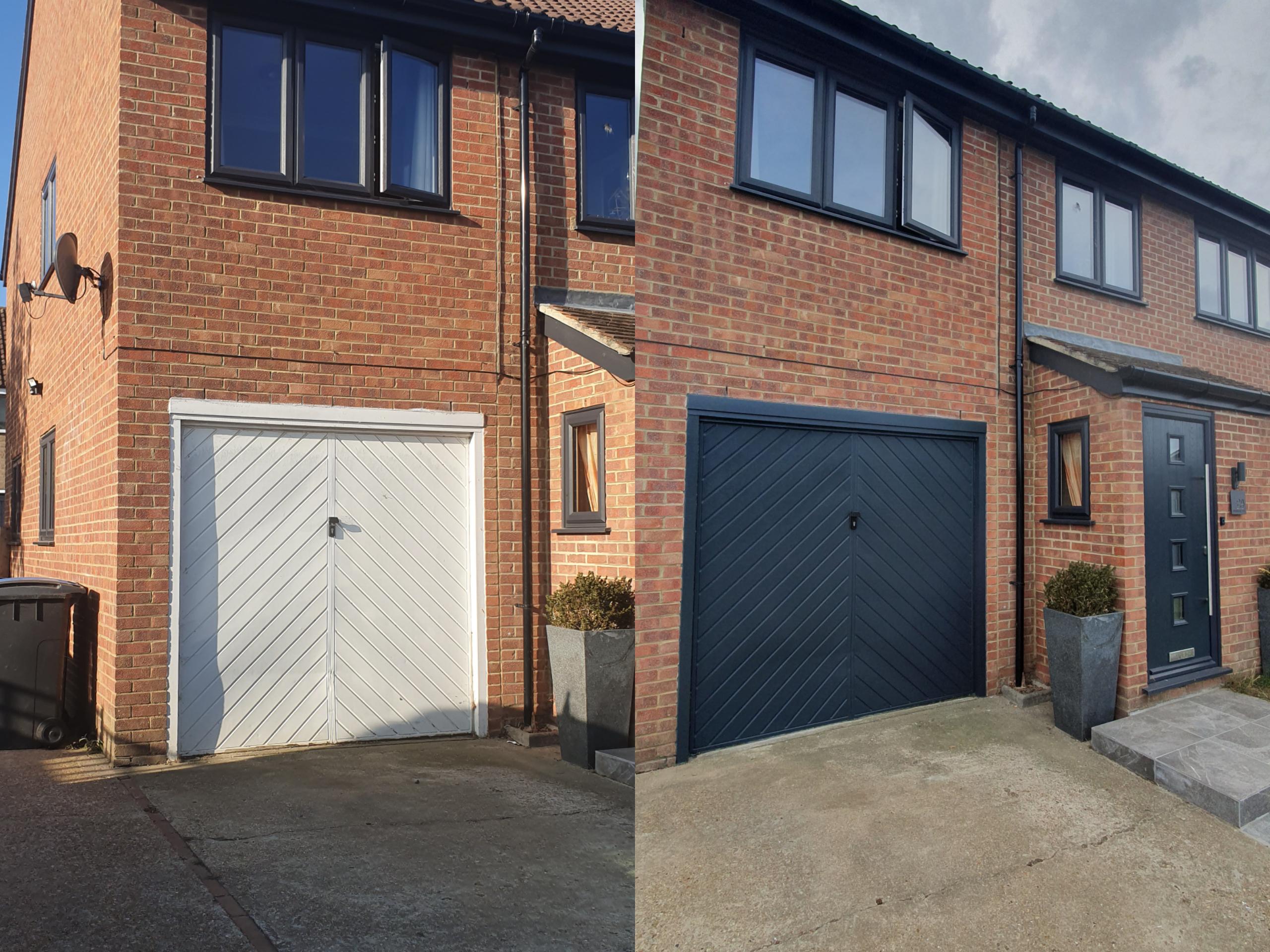 Garage door re-spray from white to grey