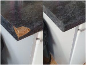 Laminate worktop chip repair before and after
