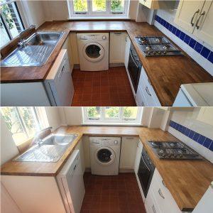 Oak kitchen worktop restored