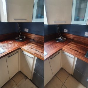Solid wood worktop before and after